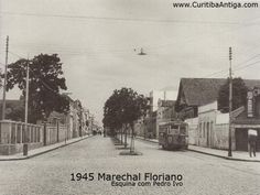 Rua Marechal Floriano Peixoto com Rua Pedro Ivo - 1945 My Land, Brazil, Snow, Street, Painting, Outdoor, Charms, Old Photographs, Old Pictures