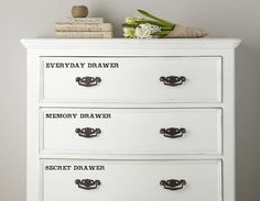Personalise you kitchen, bedroom or living room drawers with these charming label drawer stickers that add a little something to an everyday item.
