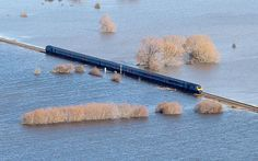 A First Great Western train makes its way across the flooded Somerset Levels
