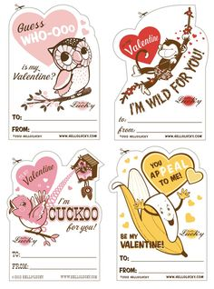 Old School Valentines - 4 Cards - Free PDF Printable