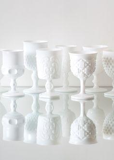 Vintage white milk glass from Casa de Perrin - LA wedding decor rental #dreamdigs