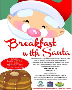 """Don't miss """"Breakfast with Santa"""" and his favorite elf!   Join Santa and his favorite elf, our special guests from the North Pole, for this once-a-year, family-oriented breakfast. Experience the enchantment on the children's faces as they relay their Christmas wishes to Santa. All proceeds will go to support Team Mid-South on their journey to the Donate Life 2016 Transplant Games of America! Tickets here: http://bit.ly/1Oj3ohW?utm_content=buffera88e4&utm_medium=social&utm_source=pinterest.co..."""