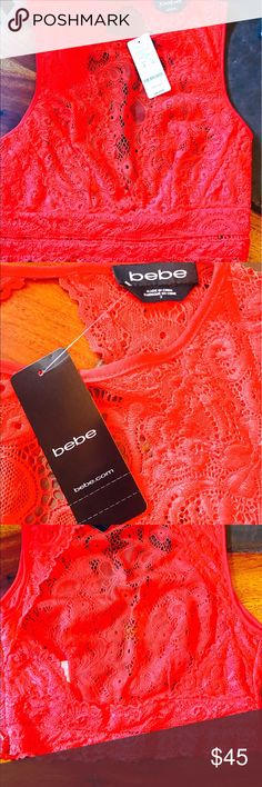 Bebe lace fiery red top! 🌹💋💄💃🏻 NWT BEBE fiery red lace top with open back. Super cute and sexy. 💃🏻😍💋🌹💄❤️ bebe Tops Blouses