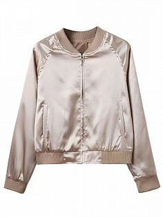 Shop Khaki Zip Up Stain Bomber Jacket from choies.com .Free shipping Worldwide.$30.99