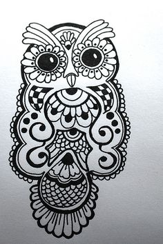 ink drawing of a henna-type owl design: paper product for a baby shower. #owl #henna #ink