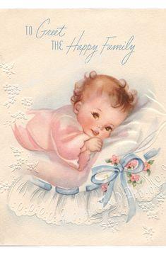 vintage antique baby girl illustrations | beautifully illustrated vintage look card of a baby girl. The soft ...
