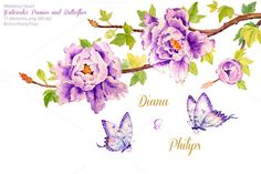 Wedding Purple Peonies & Butterflies by Corner Croft on @creativemarket