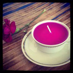 Tea cup candle - Tassenkerze von Tante Selma www. Teacup Candles, Tea Lights, Tea Cups, Tea Light Candles, Cup Of Tea