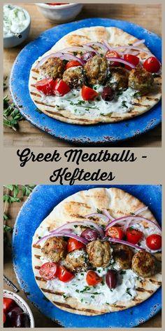 Baked Turkey Greek Meatballs (Keftedes) | The Food Blog