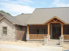 Metal roofing source color picker and metal roof colors for homes. Metal Roof Houses, Metal Buildings, Metal Homes, Brick Homes, Log Houses, House With Porch, House Roof, Roof Colors, House Colors