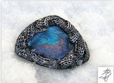 polymer jewelry - šperk do Československé šperkařské výzvy na téma Noc - polární záře listopad 2015