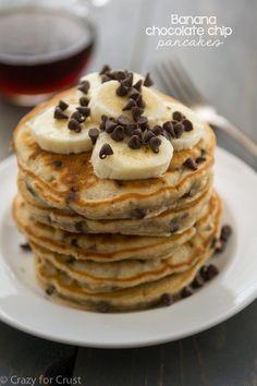 An indulgent weekend breakfast: banana chocolate chip pancakes!