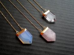 Rose Quartz Necklace Crystal Point Opalite Necklace Rose Quartz Jewelry Oplaite Jewelry Clear Quartz Point Stone Pendant Gold Dipped Quartz by SinusFinnicus on Etsy https://www.etsy.com/listing/213009619/rose-quartz-necklace-crystal-point