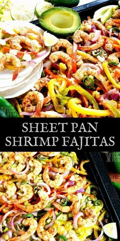 The easiest way to make low carb fajitas is baking the meat and vegetables on a sheet pan. Here's a simple recipe for shrimp fajitas. | LowCarbYum.com via @lowcarbyum