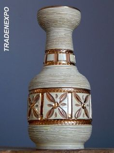 Vintage 1960's FRATELLI FANCIULLACCI Gold Vase Italian Pottery Art Fat Lava Era