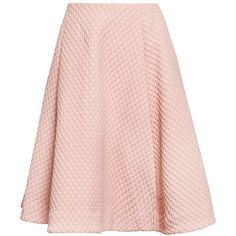 J.W. Anderson Flared Waffle Skirt ($806) ❤ liked on Polyvore featuring skirts, preppy skirts, flared hem skirt, light pink skirt, flared skirt and flare skirt