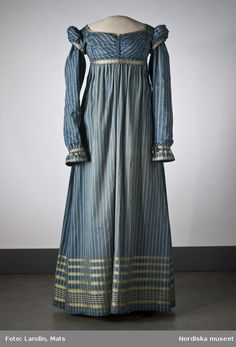Ribbon Trimmed Striped Dress, ca. 1815, via Nordic Museum