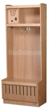 Oak Open Front Lockers for sale! These are perfect for storing sports equipment, outerwear, uniforms and more in locker rooms, mudrooms and garages! Kids Locker, Sports Locker, Lockers For Sale, Mudroom, Tall Cabinet Storage, Hardwood, It Is Finished, Garages, Sports Equipment