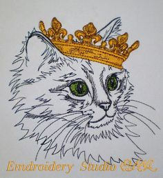 Royal_portraits. Cat - its machine embroidery design made by Oksana Vushkan. These designs is embroidered on white and pastel shades materials.  Please note: This is digital file for embroidery machine. You must have an embroidery machine and the software needed to transfer it from your computer to the machine to use this file.  Design in three sizes for the price of one. The design parameters:  1. OV_cat_crown_sm Size: 128,6 x 133,2 mm (5,06 x 5,24) Stitches: 15201 Colors: 5/6  2. OV_ca...
