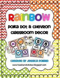 Rainbow Polka Dot & Chevron Classroom Decor from Tales of a Teacherista on TeachersNotebook.com (135 pages)