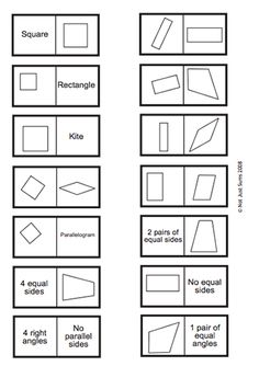 Alittle hard Here's a set of quadrilateral dominoes to work on vocabulary and classifying/identifying shapes. Math Teacher, Math Classroom, Teaching Math, Third Grade Math Games, Fifth Grade Math, Math Resources, Math Activities, Special Education Math, Math Charts
