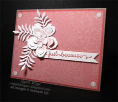 handmade card from Cattail Designs ... deep rose and white ... die cut flower from using Botanical Blooms ... luv the dimension from layering and bending the flower ... Stampin' Up!