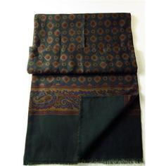Vintage mens green paisley wool silk scarf