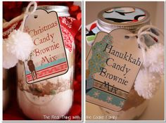 Gift ideas in mason jars just make me happy! I love this cute idea to give Christmas or Hanukkah Brownie mix in a jar. Cute free printable tag and recipe.