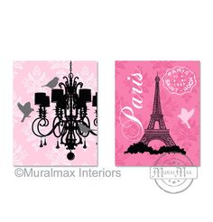 Modern Nursery Paris Chandelier  Print wall art Set of by MuralMAX, $35.00