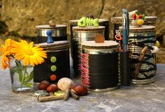 schnippschnapp-kragenab: Upcycling Büchsen mit Fahrradschlauch Bicycle Parts, Cactus, Recycling, Inspiration, Table Decorations, Advent, Biker, September, Leather