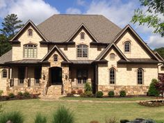 Nottingham Stone Exterior Houses, Exterior Homes, Craftsman House Plans, Craftsman Style, Nice Big Houses, Dream Homes, My Dream Home, Brown Brick Houses, Outside House Colors