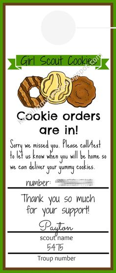 Super idea for a leave behind when the customer isn't home to accept delivery. Girl Scout Door Hanger - For Cookie Sales