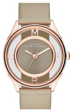 Marc Jacobs 'Tether' Skeleton Leather Strap Watch