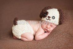 Newborn Baby Crochet Photography Props Handmade Children Lovely dog Beanie Hat and Shorts Set Toddler Costume BH-1073