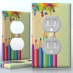 DIY Do It Yourself Home Decor - Easy to apply wall plate wraps | Rainbow Pencils  Colors dripping to the pencils  wallplate skin sticker for 1 Gang Wall Socket Duplex Receptacle | On SALE now only $3.95 Do It Yourself Home, Light Switch Covers, Plates On Wall, Decals, How To Apply, Rainbow, Stickers, Wraps, Diy