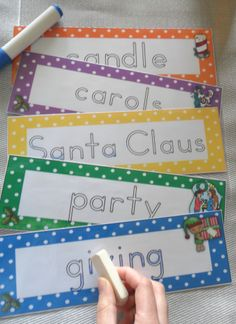 Christmas Handwriting Cards Center Activity Polka Dot Theme PDF file Handwriting cards with a cute polka dot them, 43 page classroom resource. Included purpose of resource, how to use, contents page, printing ideas page, student instruction page, color handwriting cards (2 to a page), 4 student record sheets, 3 vocabulary charts, teachers master list including alphabetized list of all vocabulary, black and white versions of the handwriting cards, vocabulary charts and teachers $