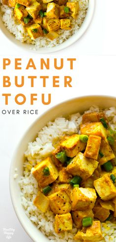 Flavorful Peanut Butter Tofu cubes over fragrant, fluffy jasmine rice, makes the perfect comfort-food, family-style entree.
