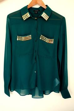 Dark green shirt with gold pyramid studs <3