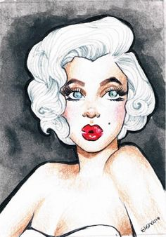 ACEO original MARILYN MONROE watercolor painting drawing #PopArt