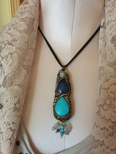 Turquoise Lapis Lazuli Moonstone Fluorite Agate Healing Wand Necklace by PixieStixDesigns on Etsy