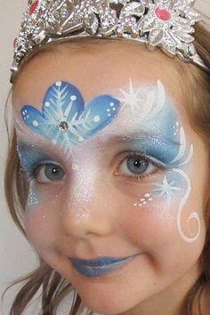 maquillage reine des neiges Elsa Face Painting, Princess Face Painting, Painting For Kids, Body Painting, Monkey Face Paint, Frozen Face Paint, Frozen Makeup, Christmas Face Painting, Face Images