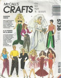 Vintage Barbie Doll Clothes - McCall s Pattern 5738 - 1992