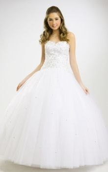 White Ball Gown Strapless,Sweetheart Natural Long/Floor-length Sleeveless Satin,Tulle Lace-up Quinceanera Dress Dress
