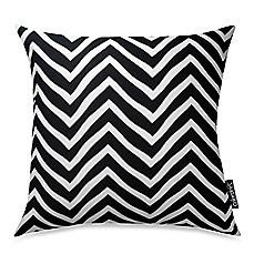 image of Chevron Recycled Cotton 20-Inch Toss Pillow in Black