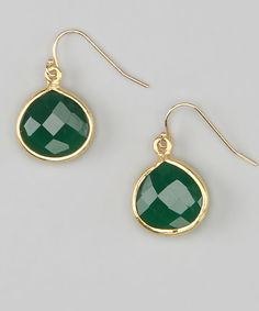 Craft a confident ensemble with these elegant earrings. Known for its inspirational and prosperous properties, green onyx creates a style-savvy piece.1.14'' long35 carat green onyx / 18k gold-plated sterling silverMade in the USA