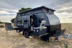 Meet the OPUS OP a luxurious, off-road hybrid caravan. This hard sided, expandable camper trailer is ready off-grid overland adventures. Hybrid Camper Trailers, Off Grid Trailers, Off Road Camper Trailer, Rv Campers, Camping Trailers, Travel Trailers, Adventure Trailers, Cargo Trailers, Camper Trailers