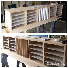 scrapbook paper shelves DIY - lesrondabatchelor.blogspot.com