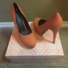 Beautiful Coral Pumps Very cute chic coral pumps for office or a night out on the town! Only worn once, excellent condition. Michael Antonio Shoes Heels