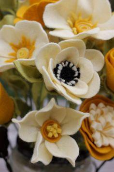 Handmade Felt Blossoms in by TheFeltFlorist Felt Flower Wreaths, Felt Flowers, Diy Flowers, Fabric Flowers, Paper Flowers, Flower Ideas, Felt Diy, Handmade Felt, Handmade Flowers