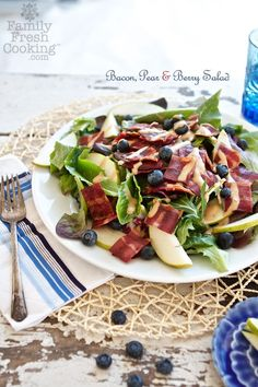 Bacon, Pear & Blueberry Salad | recipe on MarlaMeridith.com